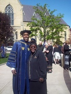 Bobby Brown and his mother, Bettye Brown, at Notre Dame Law School graduation.
