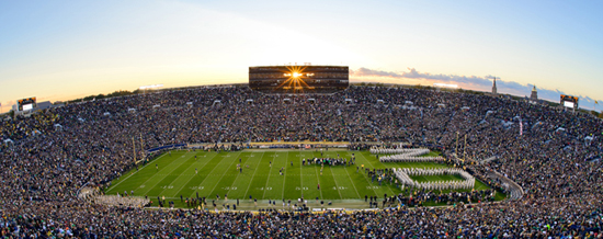 Notre Dame stadium at sunset. Photo: Matt Cashore.