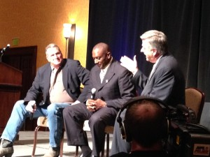 Robin Weber (right) and Tim Brown (middle) relive their playing days with Jack Nolan (right)