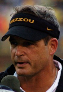 """Gary-Pinkel-Mizzou-vs-Nevada-Sept-13-08"" by Jim Ross; cropped by User:Blueag9. - http://flickr.com/photos/eagle102/2981891872. Licensed under CC BY 2.0 via Wikimedia Commons."