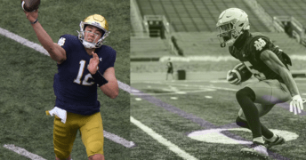 Tyler Buchner throws a pass in the 2021 Blue/Gold Game on the left. On the right, Jordan Johnson runs a drill.